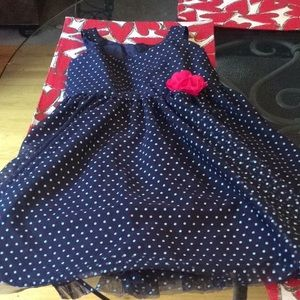 Girls Dress in Navy and White w/ Red Rose